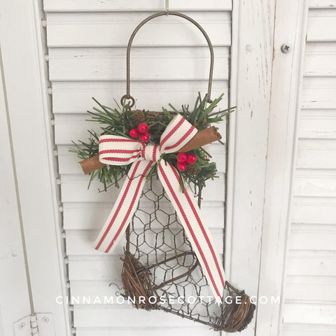 Chicken Wire Christmas Stocking Pillow Tick Ribbon-CRC Christmas Originals-Cinnamon Rose Cottage