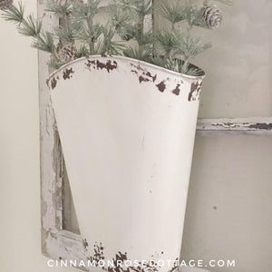 Creamy Cottage White Distressed Wall Flower Bucket-Cinnamon Rose Cottage