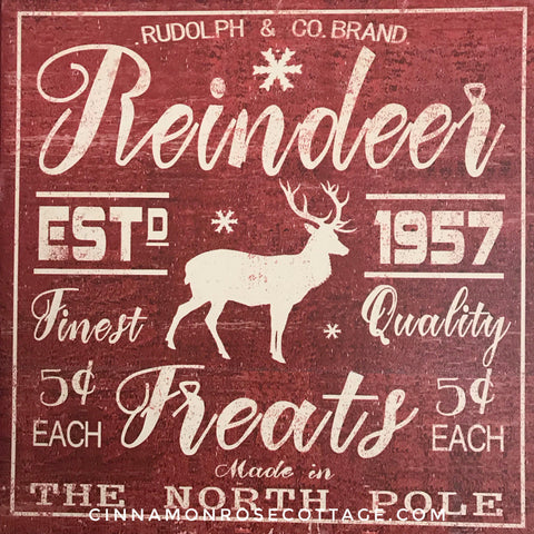 Reindeer Treats 12x12 Distressed Wood Framed Sign-Cinnamon Rose Cottage