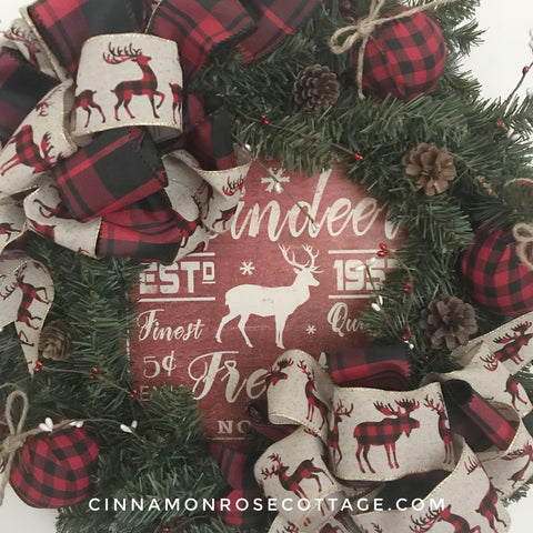 Large Reindeer Treats Christmas Door Wreath-Wreath-Cinnamon Rose Cottage