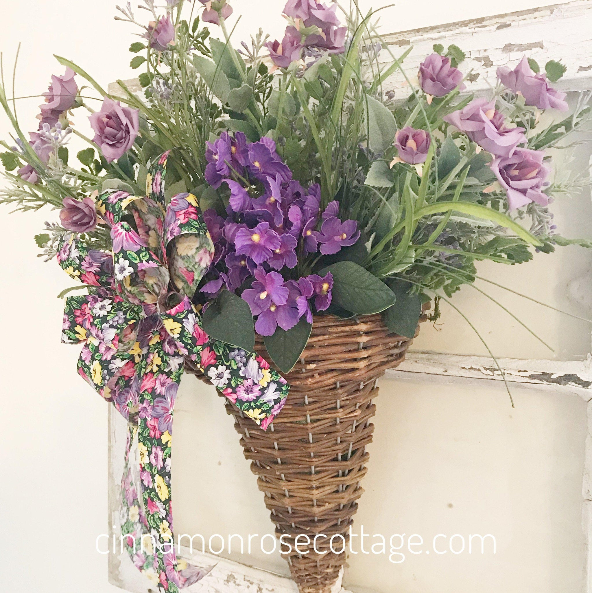 Large Designer Vine Wall Basket With Purple Violets And Flocked Real Look Roses And Ferns Cottage Fall Everyday Home Decor Sale-CRC Originals-Cinnamon Rose Cottage