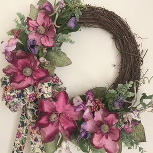 Real Look Magnolia And Pansy Wreath Pink, Mauve and Purple Flocked Eucalyptus CRC Original Sale-CRC Originals-Cinnamon Rose Cottage