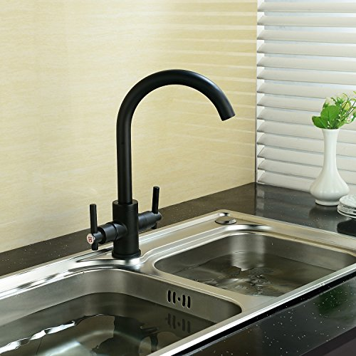 Funime® Black Kitchen Sink Taps Mixers Traditional Dual Lever Monobloc  Swivel Spout Brass
