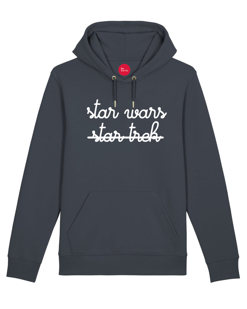 Sweat à capuche avec slogan en impression velours blanc sur la poitrine star wars et star trek barré