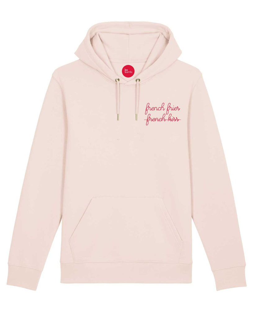 Sweat à capuche rose femme brodé french fries