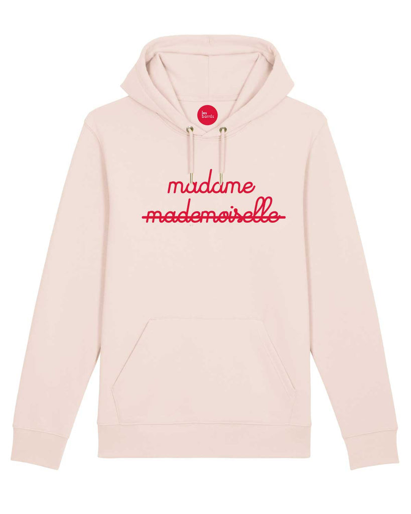Sweat à capuche rose pâle avec slogan en impression velours rouge madame et mademoiselle barré