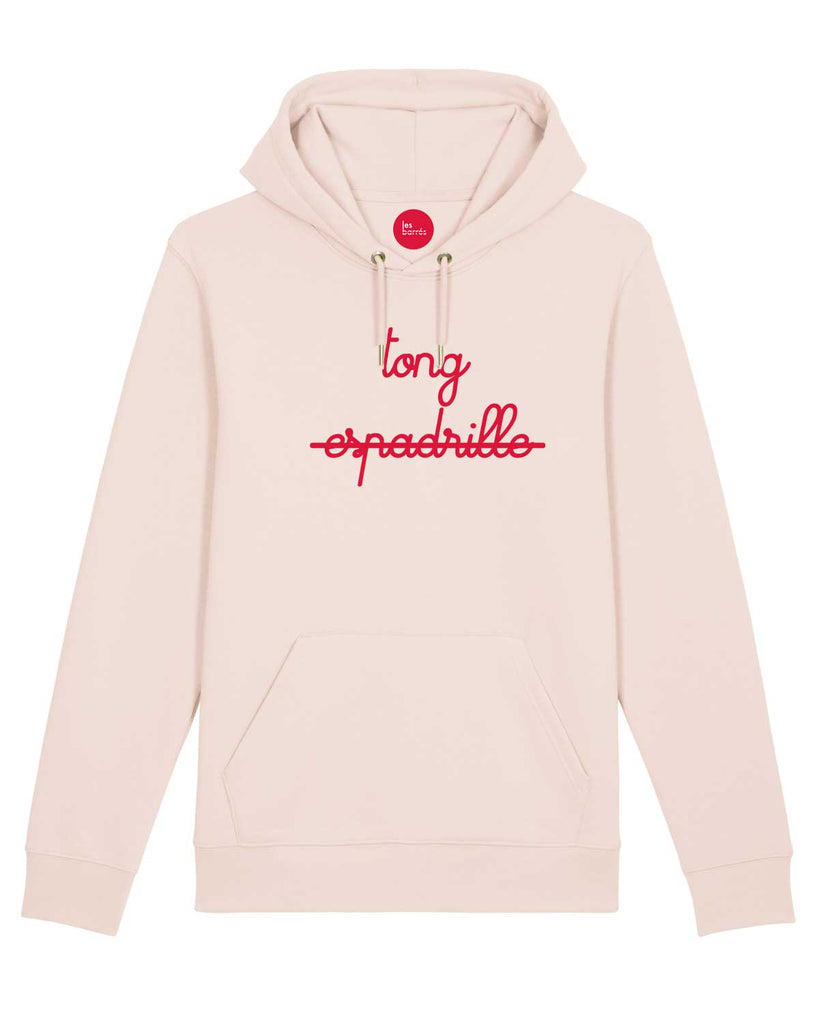 Sweat à capuche rose flocage velours tong