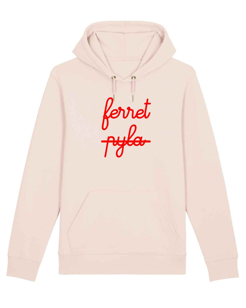 Sweat à capuche femme rose velours rouge ferret barré pyla