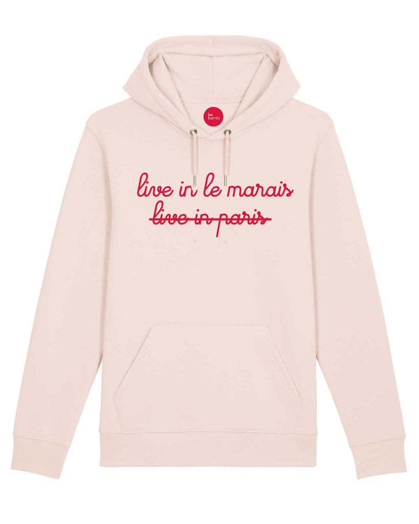 Sweat à capuche rose velours blanc le marais