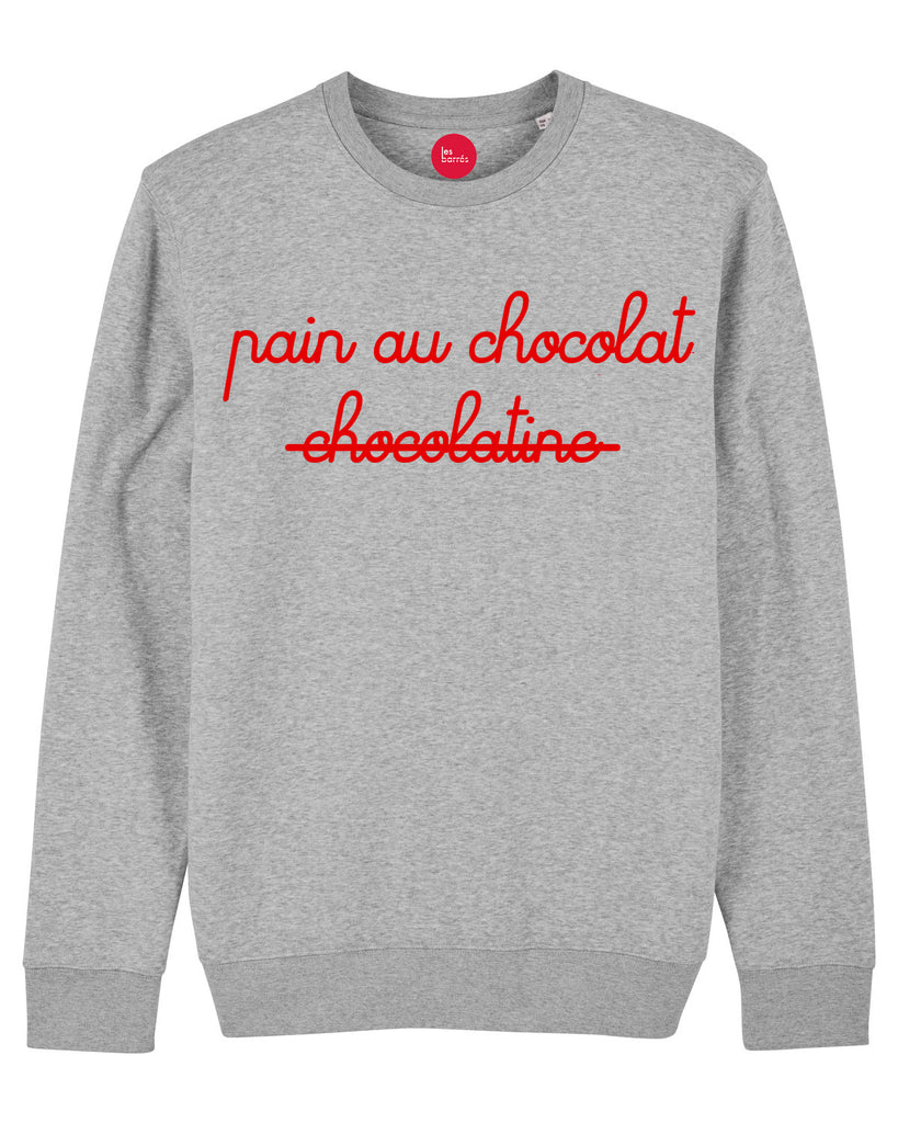 Sweat-shirt gris flocage velours Pain au chocolat / chocolatine pour femme en S -20% de réduction