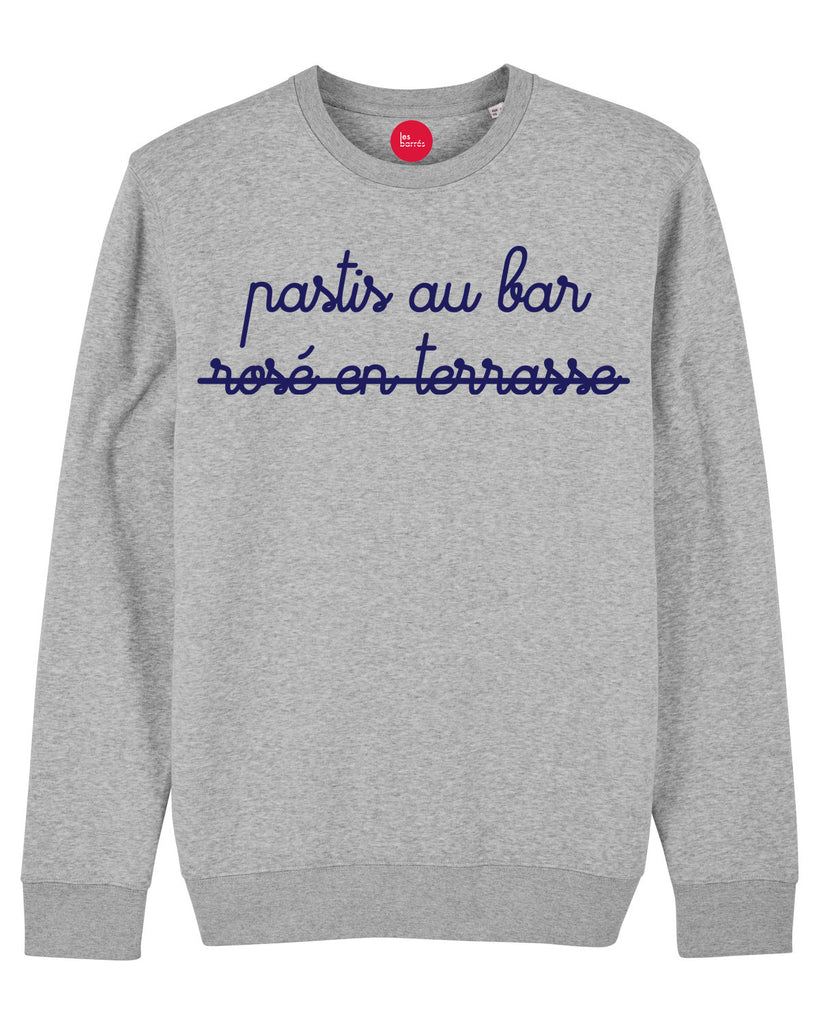 Sweat shirt homme gris impression velours bleu pastis au bar