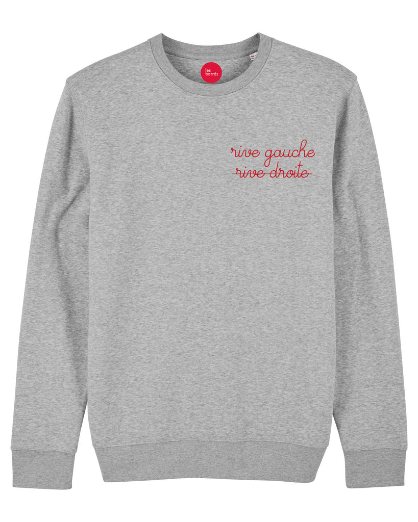 sweat-shirt brodé femme gris chiné brodé rouge les barrés