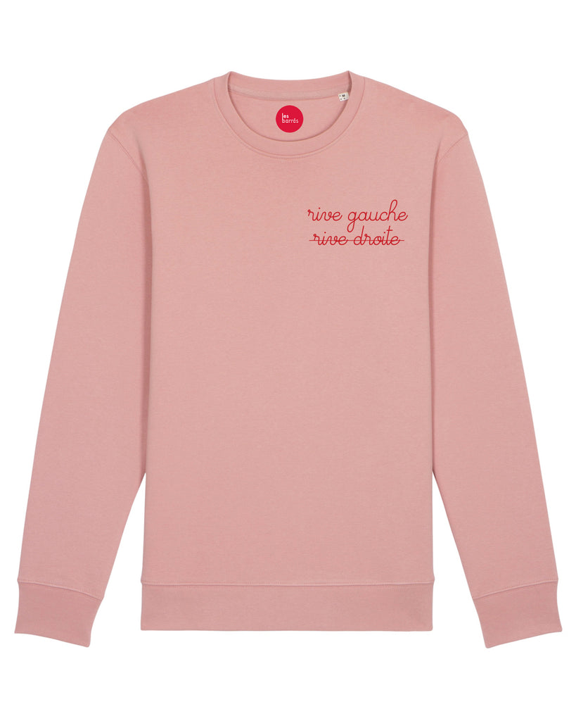 sweat-shirt brodé femme rose brodé rouge les barrés