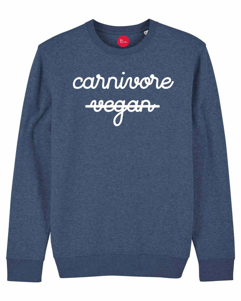 Sweat-shirt flocage velours Carnivore / Vegan pour homme