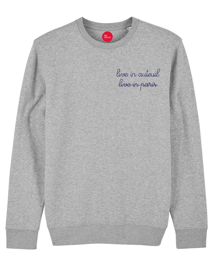 Sweat-shirt brodé Live in Auteuil / Live in Paris pour homme
