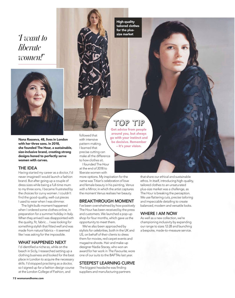 Woman & Home Magazine interviews THE Hour Founder Nana Rasoeva