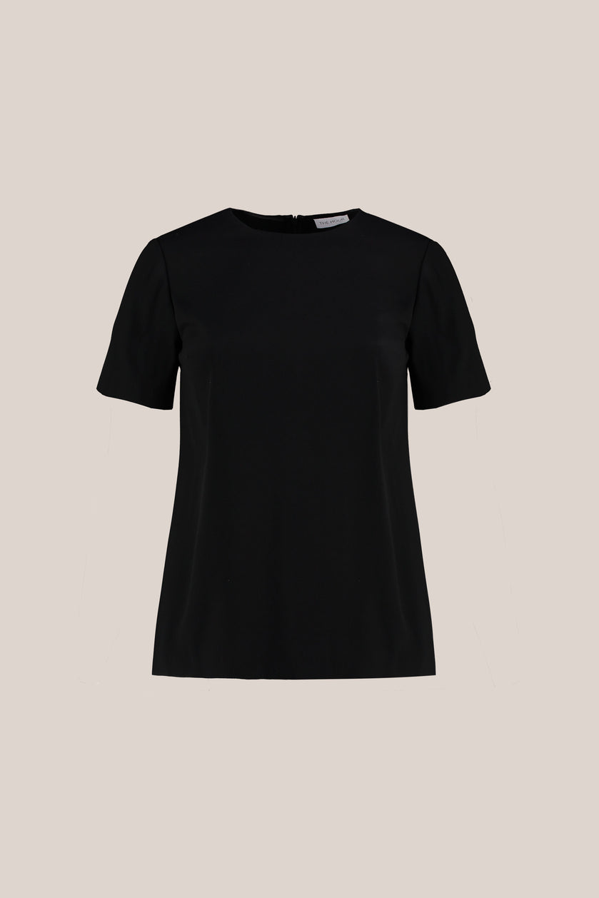 Designer Plus size  crepe satin short sleeve black top