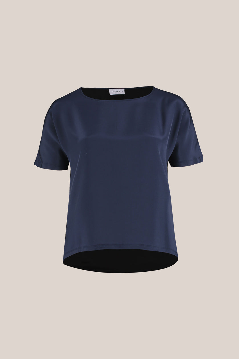 Plus size women's blue silk t-shirt