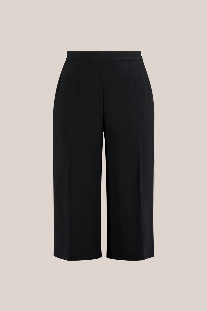 Plus size black culotte trousers