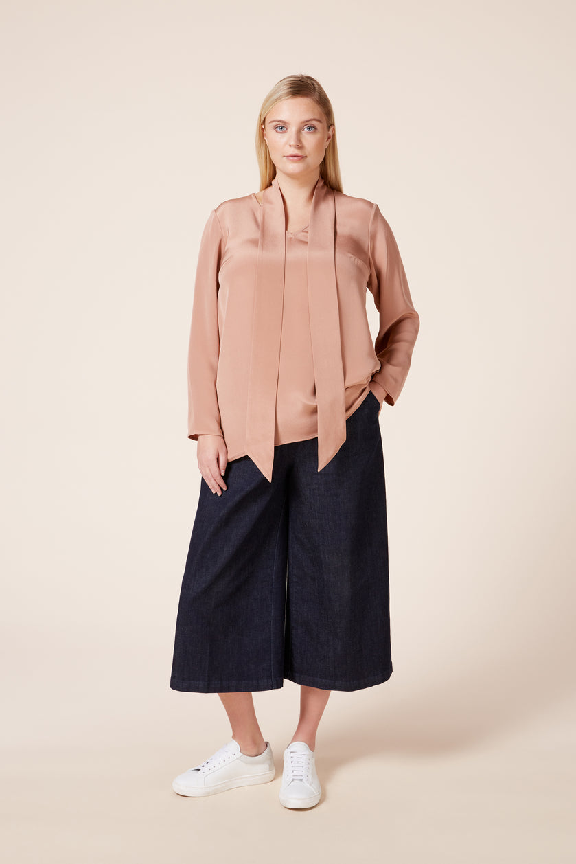 Blush neck tie silk blouse plus size