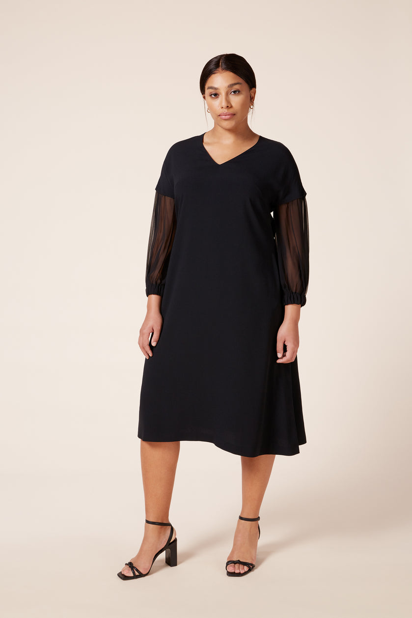 Plus size A-line black dress with silk sleeves