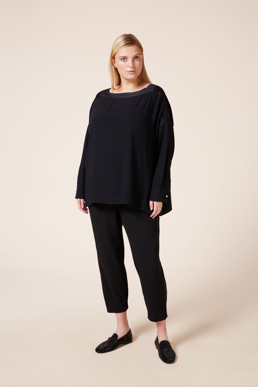 Plus size crepe satin black top with pearl buttons