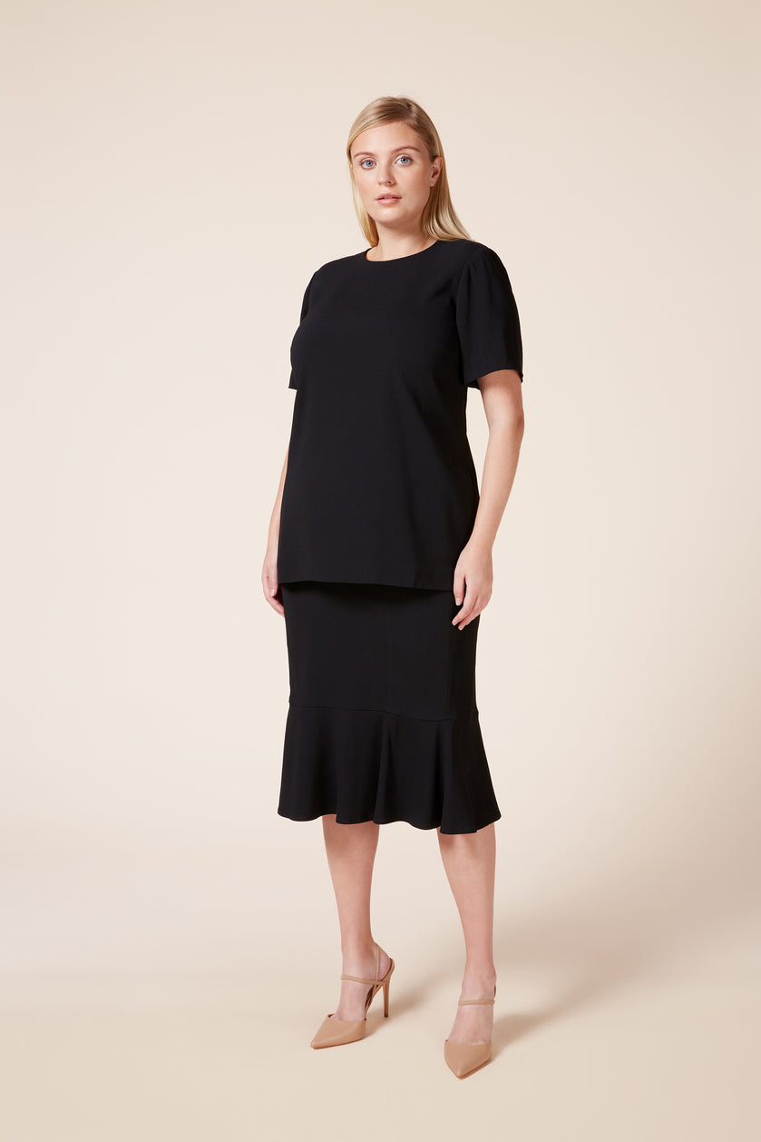 black plus size skirt and tailored top