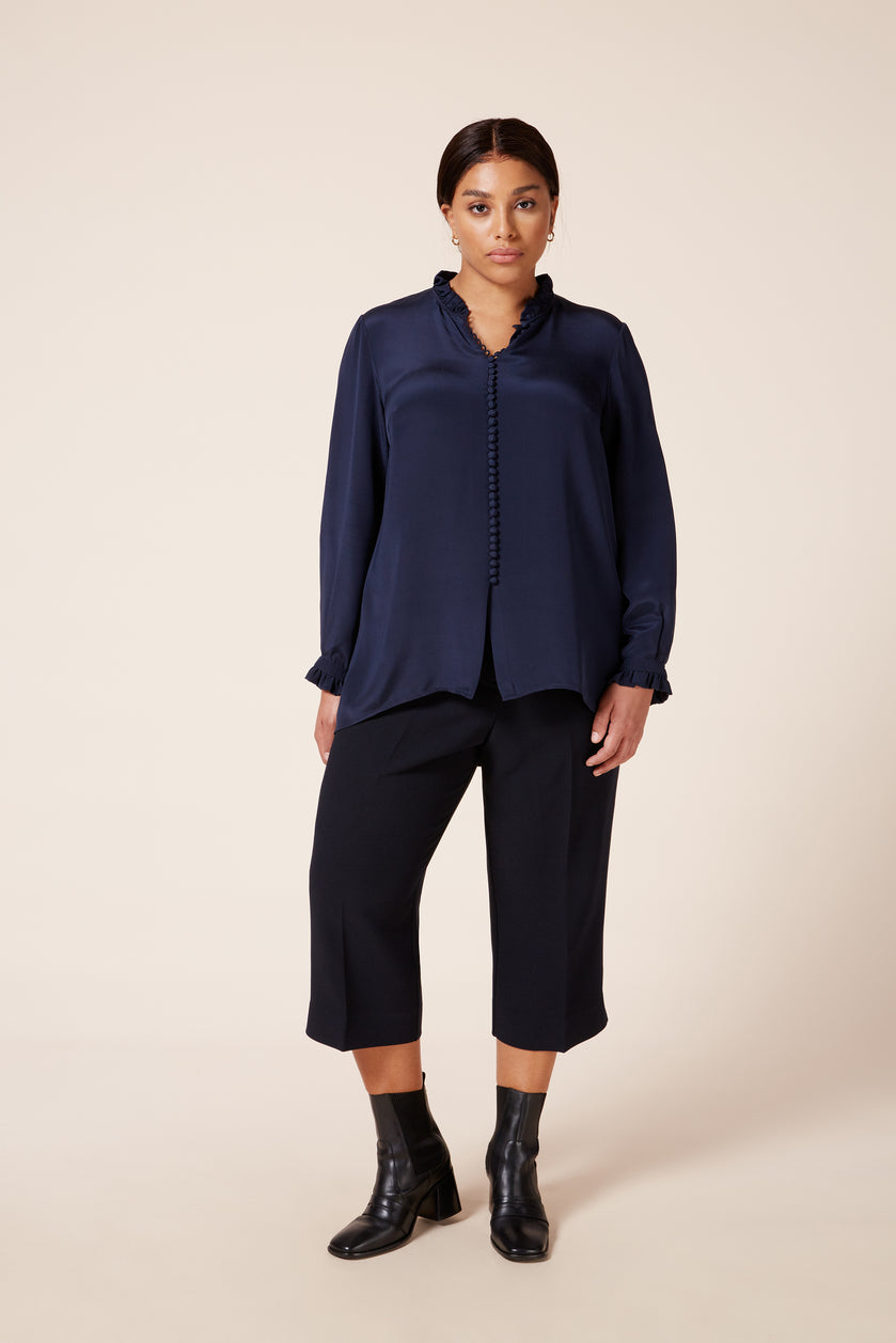 Designer plus size women's midnight blue crepe de chine blouse with silk-covered buttons
