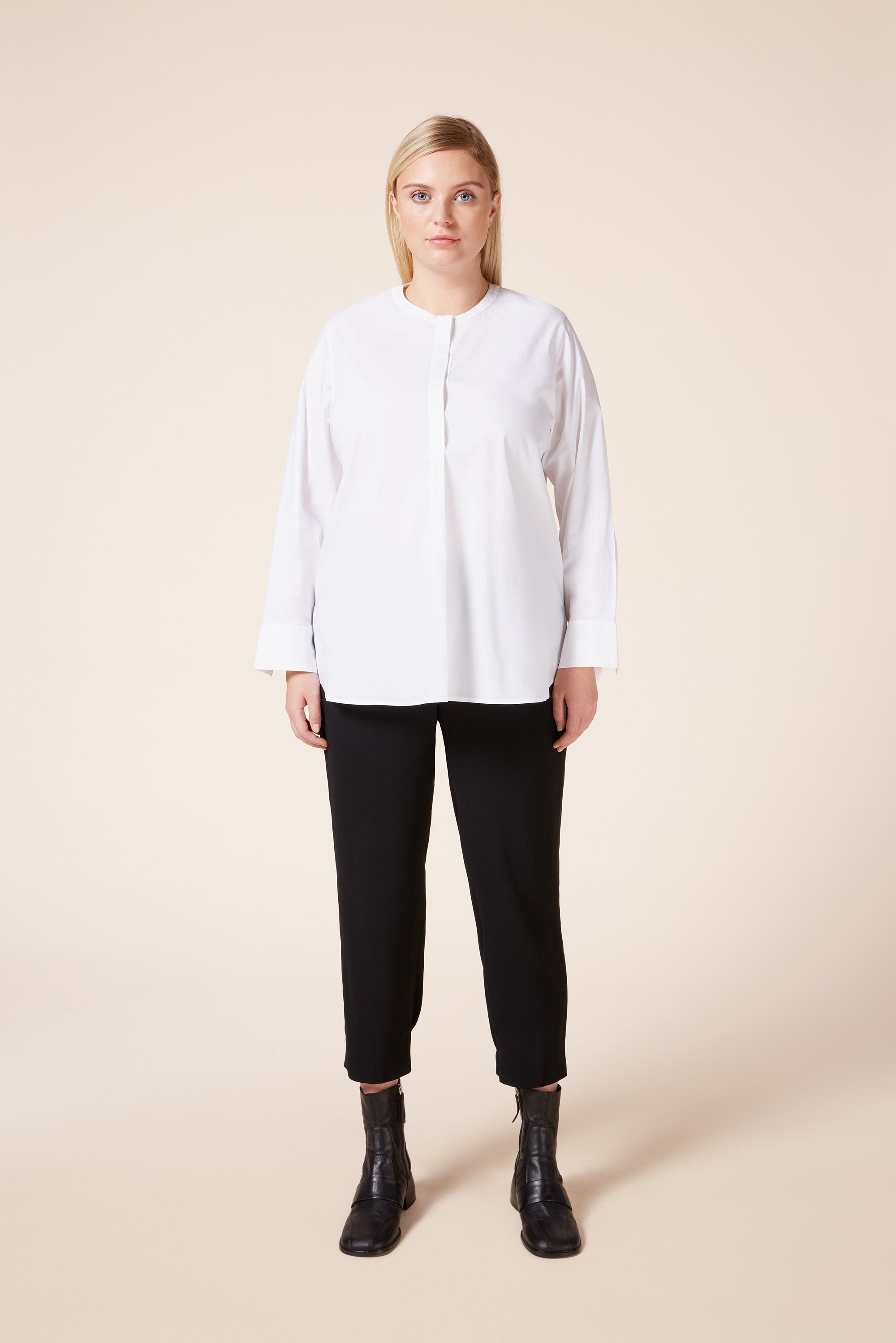 Designer Plus size long sleeve cotton shirt collarless