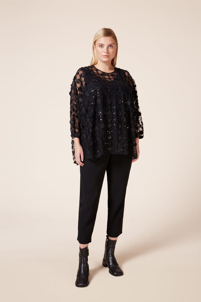 Plus size black sequenced evening top