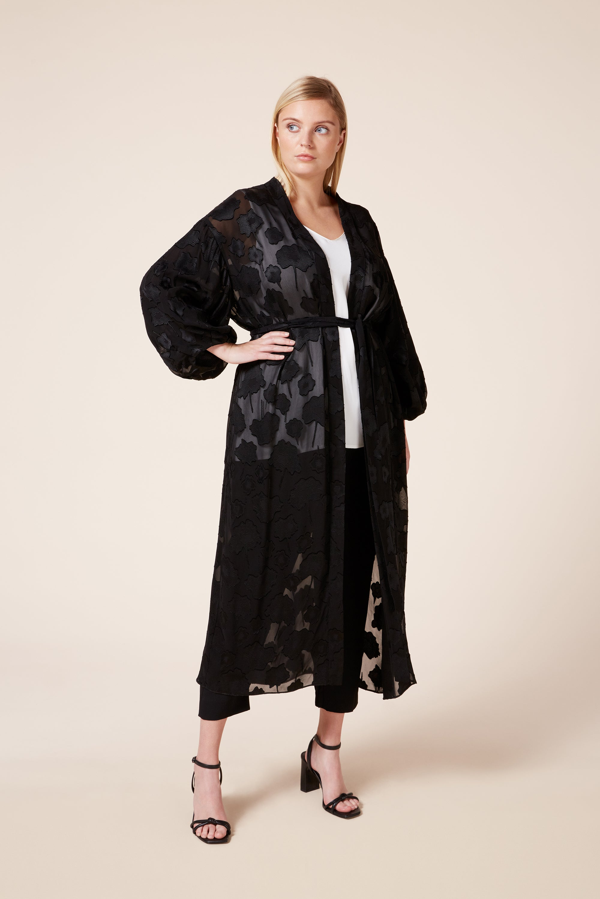 Designer plus size evening diaphanous black silk coat