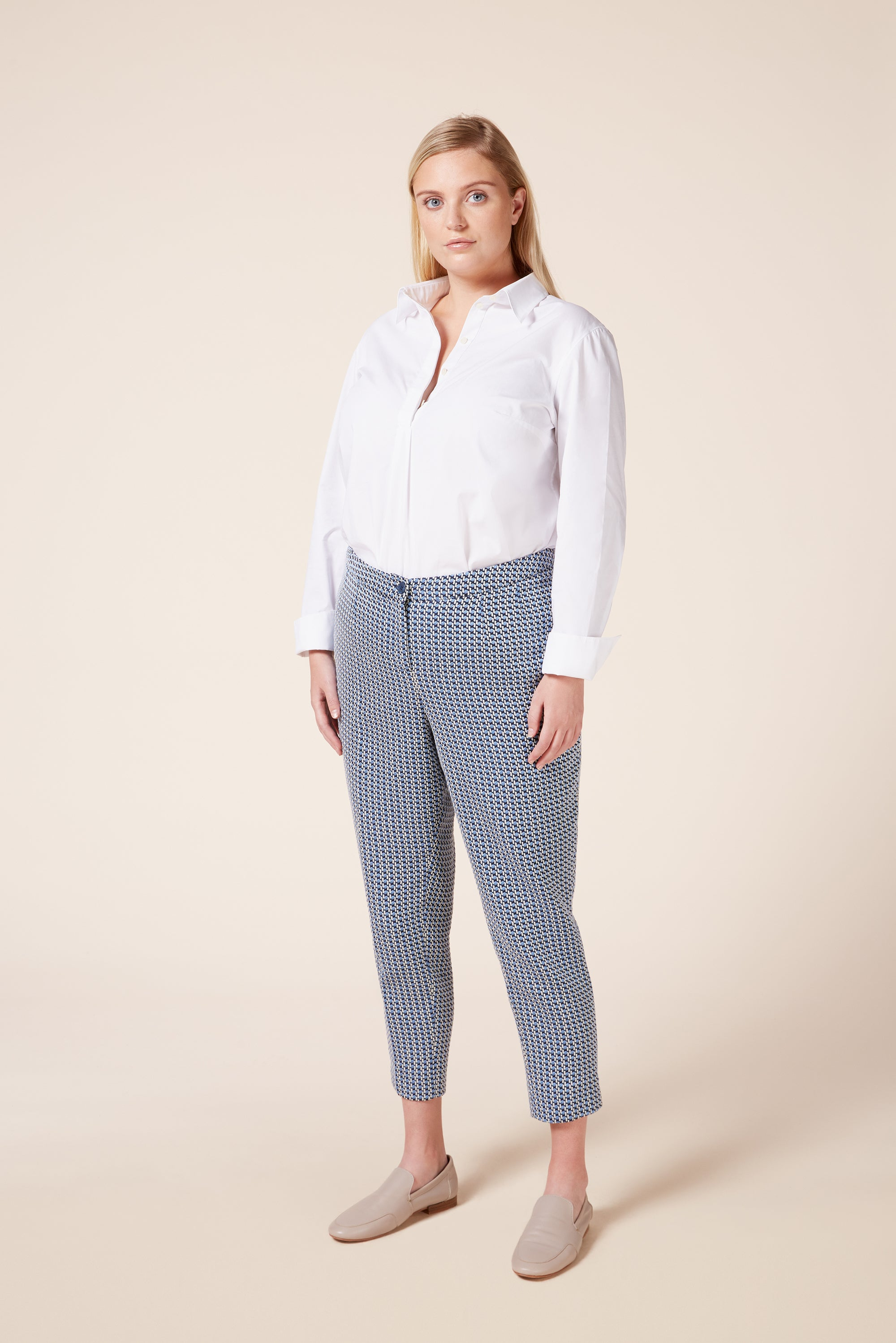 Designer plus size jacquard tailored trousers