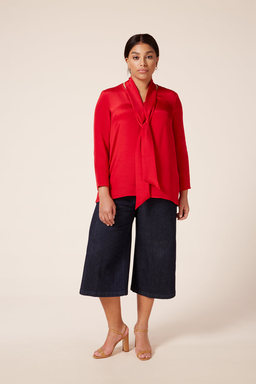 Designer Plus size red crepe de chine silk blouse which gathered at the back and detachable neck tie