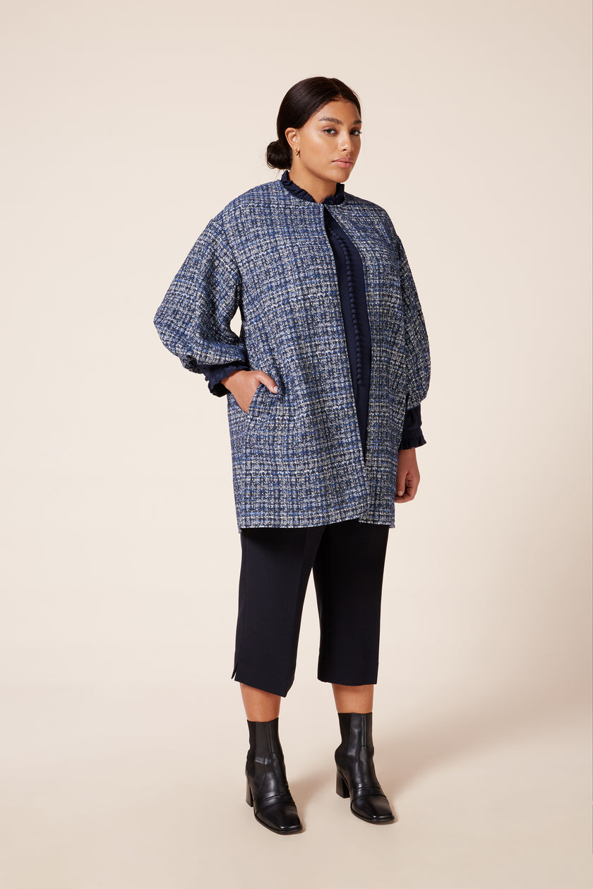 Designer plus size lantern sleeves lightweight tweed effect cotton mix jacket
