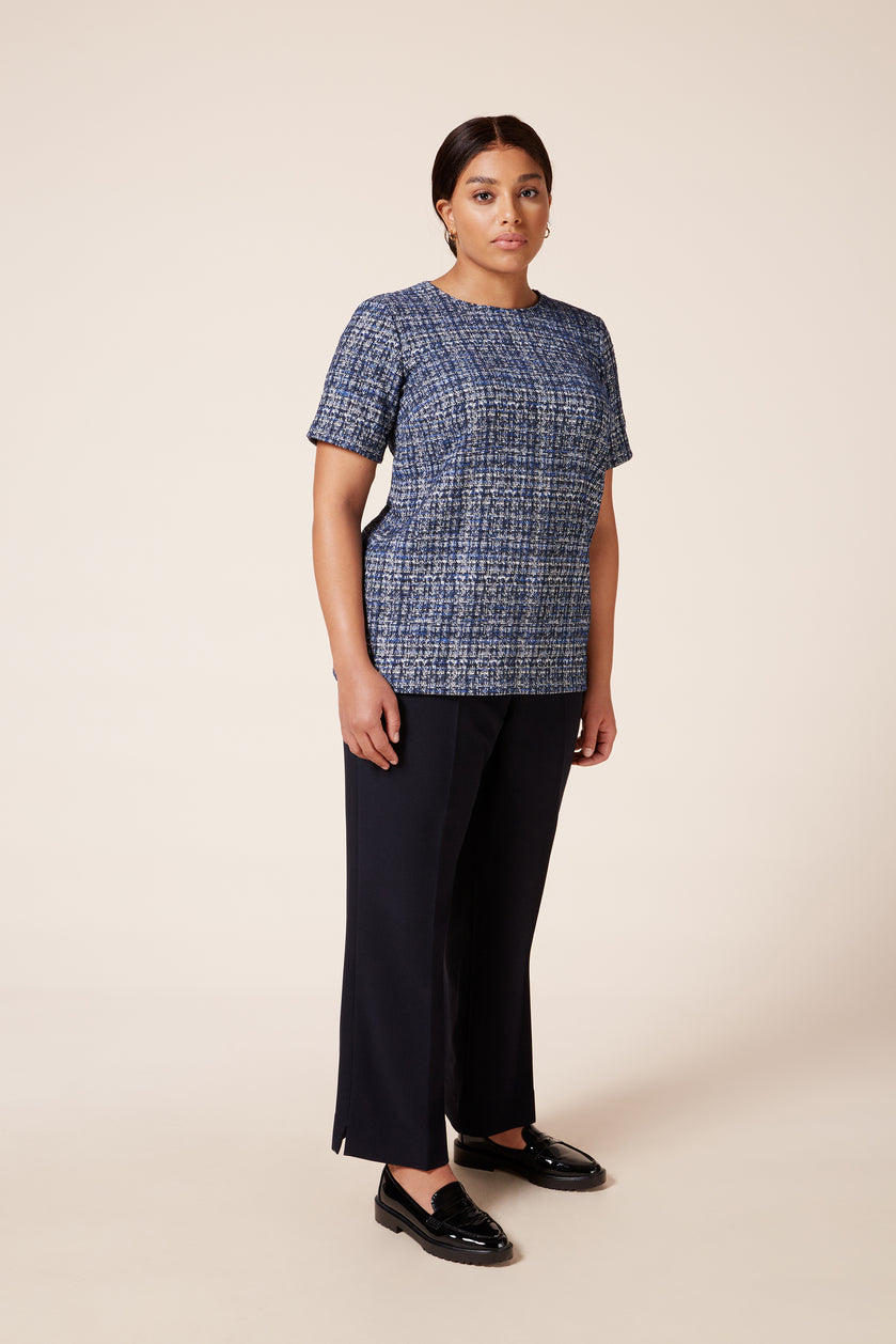Designer plus size tweed effect cotton mix tailored top