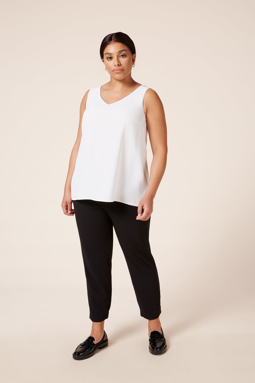 Plus size designer V neck soft white shell top
