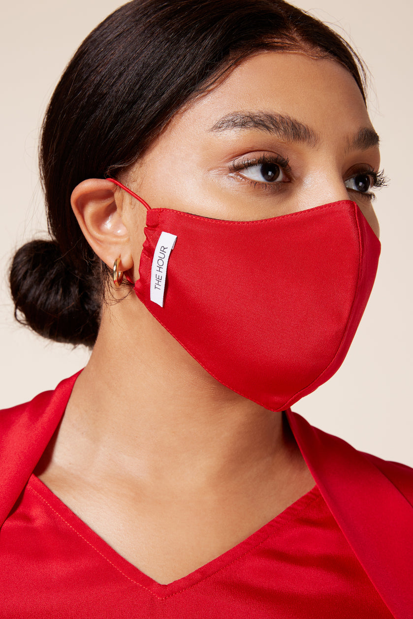 Red silk antibacterial mask