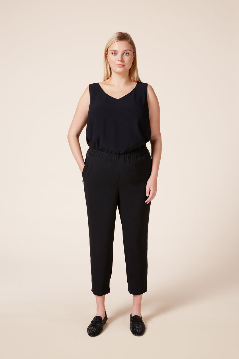 Plus size luxury black tuxedo jogger trousers with satin strip down the side and discreet pockets