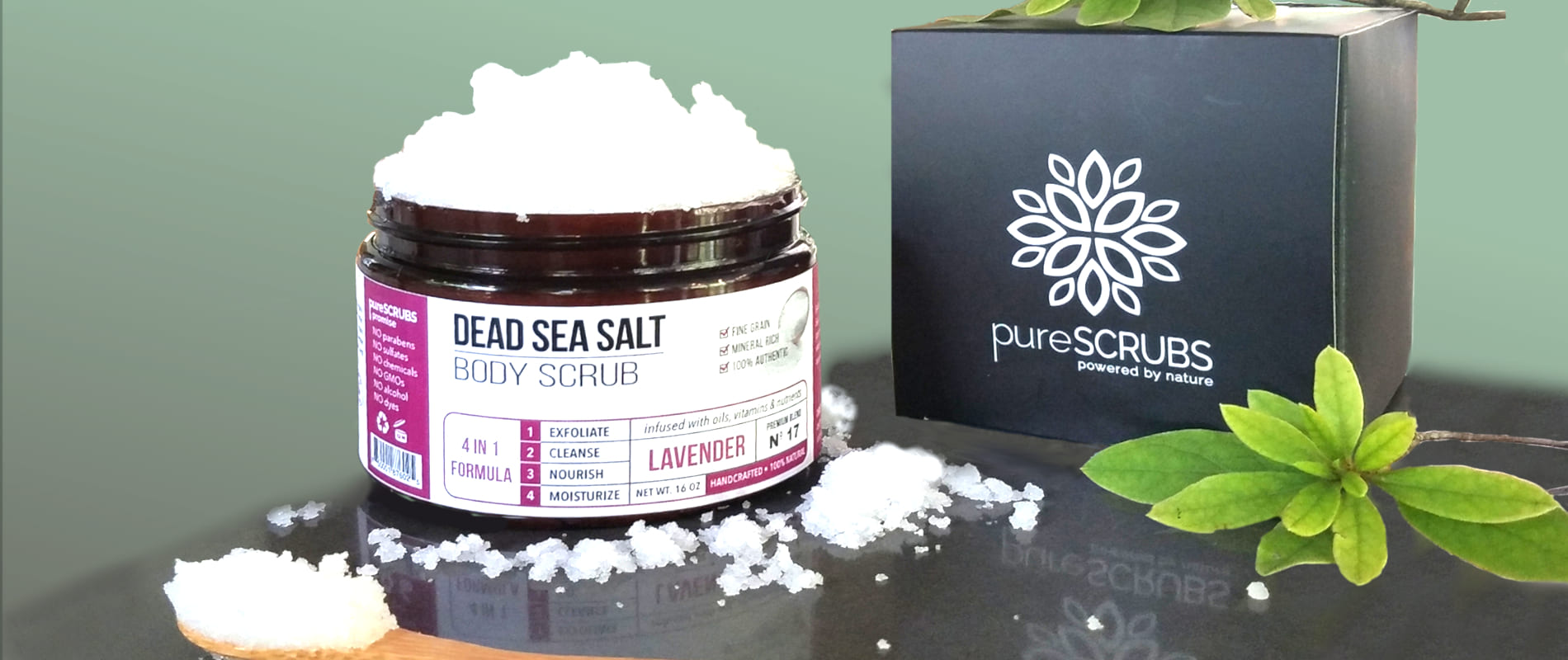 pureSCRUBS® luxury organic dead sea salt body scrubs to gently exfoliate for beautiful skin - softer, smoother, healthier glowing skin - your skin will love it.