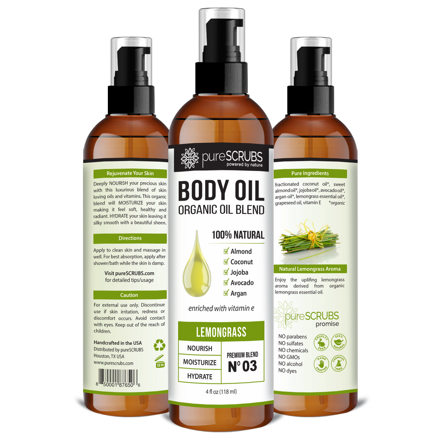 Lemongrass Body Oil / Ultra Moisturizing / Premium Blend #03