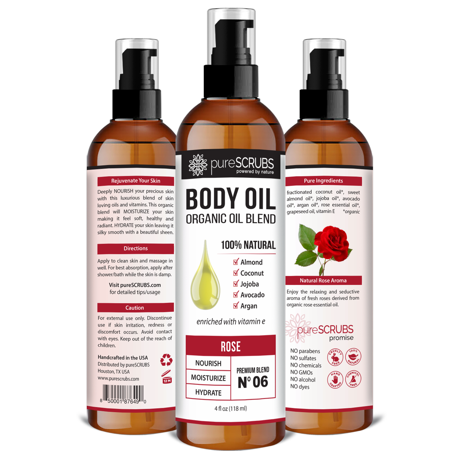 Rose Body Oil / Ultra Moisturizing / Premium Blend #06