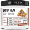 purescrubs Premium Blend #34 cinnamon brown sugar body scrub to exfoliate your skin comes with free loofah pad free exfoliating organic oatmeal bar soap shea butter and honey and free eco-friendly bamboo spoon to stir and scoop out the scrub