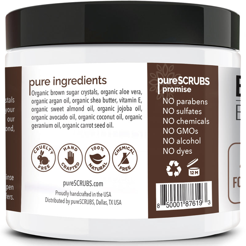 purescrubs coconut brown sugar body scrub Premium Blend #30 to exfoliate your skin comes with free loofah pad free exfoliating organic oatmeal bar soap shea butter and honey and free eco-friendly bamboo spoon to stir and scoop out the scrub