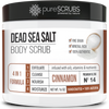 purescrubs Premium Blend #14 cinnamon dead sea salt body scrub to exfoliate your skin comes with free loofah pad free exfoliating organic oatmeal bar soap shea butter and honey and free eco-friendly bamboo spoon to stir and scoop out the scrub