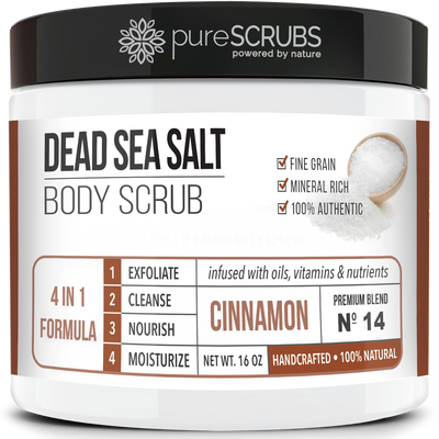 Cinnamon Body Scrub / Dead Sea Salt / Premium Blend #14