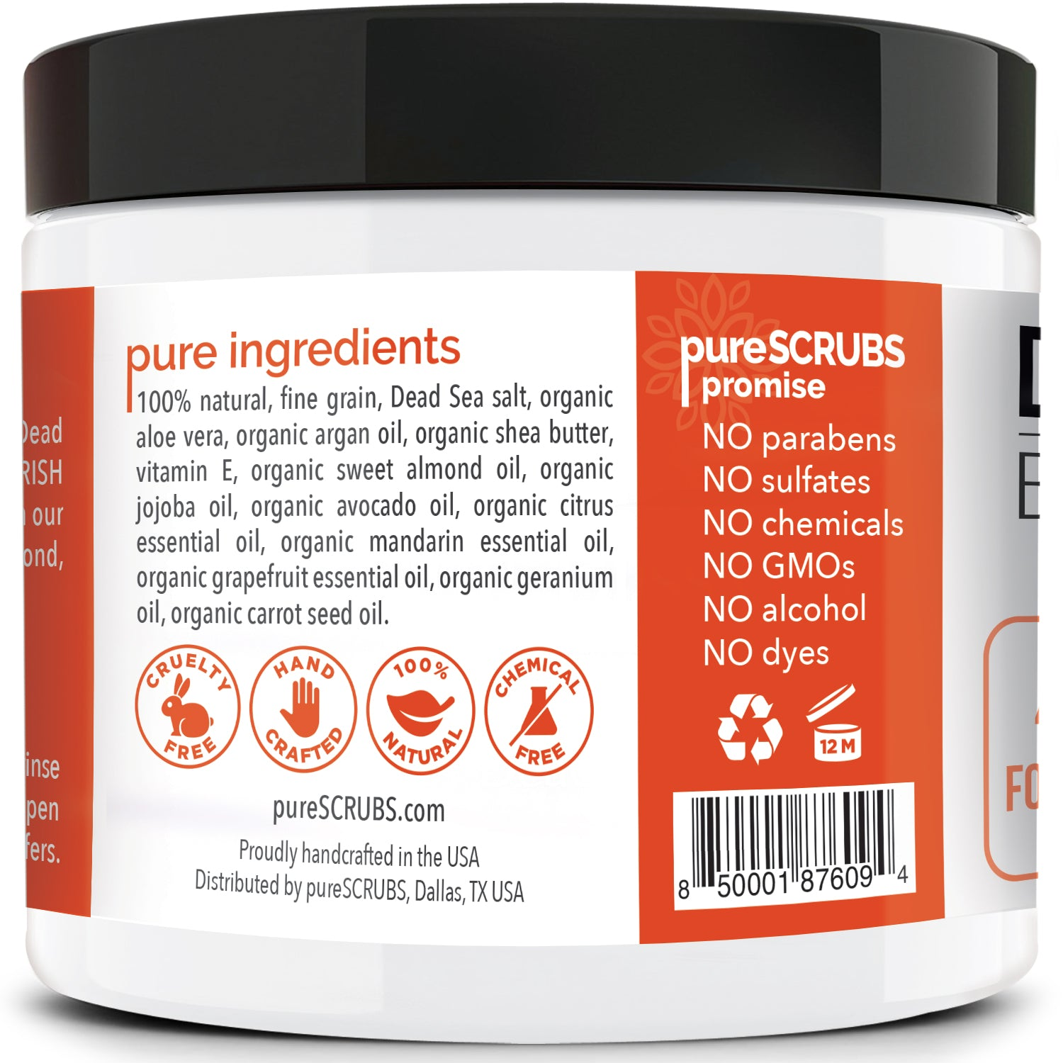 purescrubs 16oz jar Premium Blend #25 citrus dead sea salt body scrub to exfoliate your skin comes with free loofah pad free exfoliating organic oatmeal bar soap shea butter and honey and free eco-friendly bamboo spoon to stir and scoop out the scrub