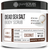 purescrubs coconut dead sea salt body scrub Premium Blend #23 to exfoliate your skin comes with free loofah pad free exfoliating organic oatmeal bar soap shea butter and honey and free eco-friendly bamboo spoon to stir and scoop out the scrub