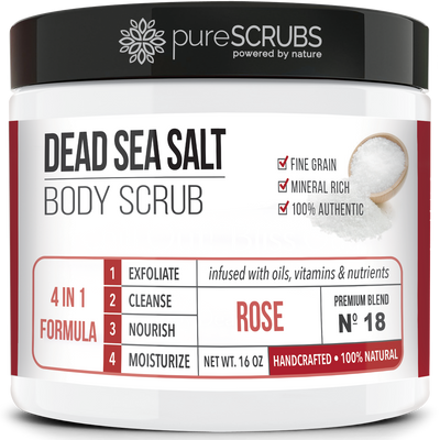 Rose Body Scrub / Dead Sea Salt / Premium Blend #18