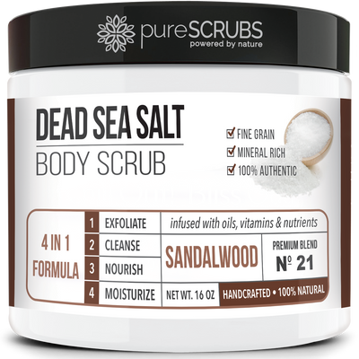 Sandalwood Body Scrub / Dead Sea Salt / Premium Blend #21