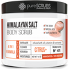 purescrubs 16oz jar citrus pink himalayan salt body scrub Premium Blend #41 to exfoliate your skin comes with free loofah pad free exfoliating organic oatmeal bar soap shea butter and honey and free eco-friendly bamboo spoon to stir and scoop out the scrub